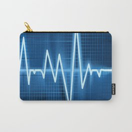 Heart Monitoring rate line waves wave chevron blue Carry-All Pouch