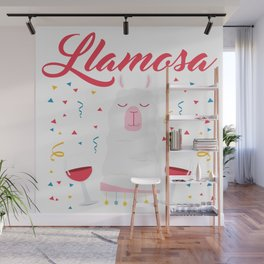Funny Llama Drinking Whine Party Celebratin Gift Wall Mural
