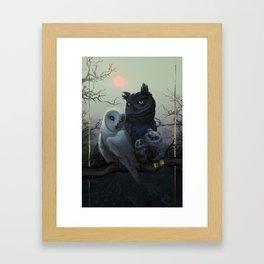 Owl Family Portrait Framed Art Print