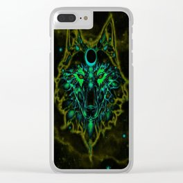 Mythical Neon Yellow Wolf Clear iPhone Case
