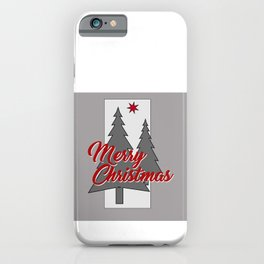 large Merry Christmas Tree grey iPhone Case