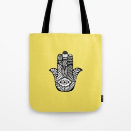 Hand Drawn Hamsa Hand of Fatima on Yellow Tote Bag