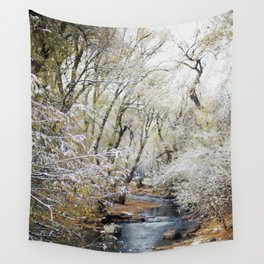 A Creek on a Snowy Day in Boulder, Colorado Wall Tapestry
