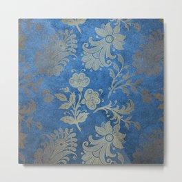 Blue Velvet Gold Floral Pattern 08 Metal Print