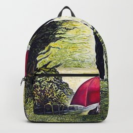 Red Umbrella man - from original oil painting Backpack