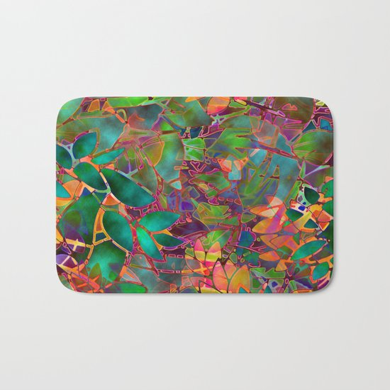 Floral Abstract Stained Glass G176 Bath Mat