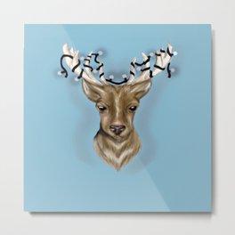 Deer head with string lights Metal Print