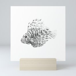Lionfish - Pterois volitans (black and white, with scientific name) Mini Art Print