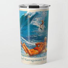Surf Narragansett Beach, Rhode Island Vintage Surfing Big Swell Poster - New England Surfers Travel Mug