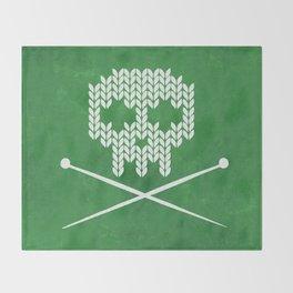 Knitted Skull - White on Deep Green Throw Blanket