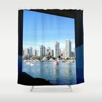 vancouver Shower Curtains featuring Vancouver blue by amberino