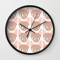 sphynx Wall Clocks featuring Sphynx by Shaye Display Illustrations