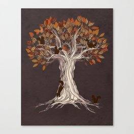 Little Visitors - Autumn tree illustration with squirrels Canvas Print