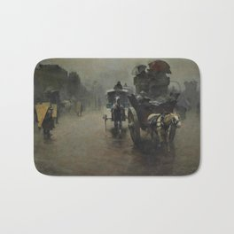Pieter de Josselin de Jong - Carriages in the Mist, London - Dutch Victorian Retro Vintage Oil Paint Bath Mat