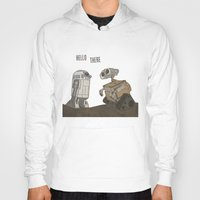 wall e Hoodies featuring R2D2 and Wall E by Victoria Schiariti