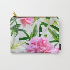 Pink Peonies & White Lilies Carry-All Pouch