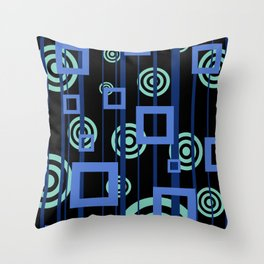 rectangles and circles blue stripes pattern  #society6 Throw Pillow