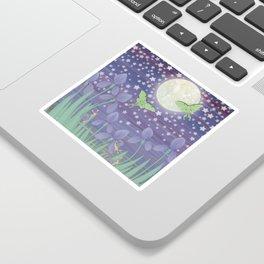 Moonlit stars, luna moths, snails, & irises Sticker