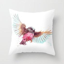 Pink Robin Bird Throw Pillow