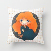 merida Throw Pillows featuring Merida by Suni