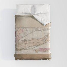 Long Island New York 1842 Mather Map Duvet Cover