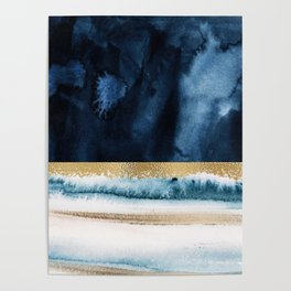 Navy Blue, Gold And White Abstract Watercolor Art Poster