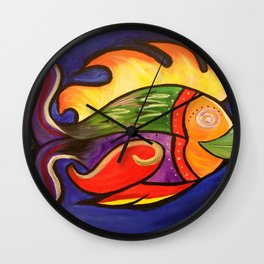Fiery Fishy Wall Clock