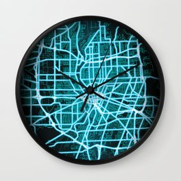 Rochester, NY, USA, Blue, White, Neon, Glow, City, Map Wall Clock