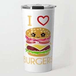 I Love Burgers Hamburger Fast Food Cheese Nuggets Design Travel Mug