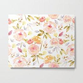 Acacia Vintage watercolored florals-White Metal Print