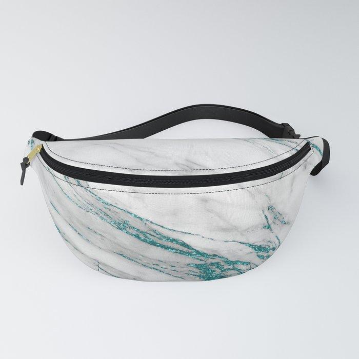Gray Marble Aqua Teal Metallic Glitter Foil Style Fanny Pack