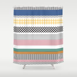 Mixed Pattern Stripe Print Color Blocking Shower Curtain