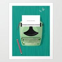 typewriter Art Prints featuring Typewriter by Luke Bott
