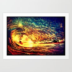 Waves In The Sunset Art Print