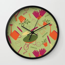 A Day in the Garden - Green Wall Clock