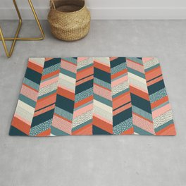 Chevron with Textures / Orange and Persian Green Rug