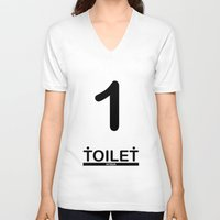 toilet V-neck T-shirts featuring TOILET CLUB #1 by Toilet Club