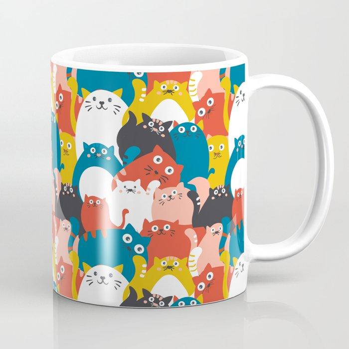 Cats Crowd Pattern Coffee Mug