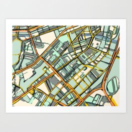 Abstract Map- Boston South End Art Print