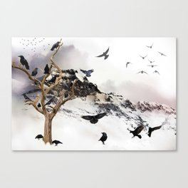 Crow Tree On A Snowy Mountain Canvas Print