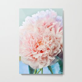 Peony Flower Photography, Pink Peony Floral Art Print Nursery Decor A Happy Life  - Peonies 1 Metal Print