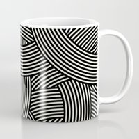 jenna kutcher Mugs featuring New Weave in Black by Jenna Mhairi