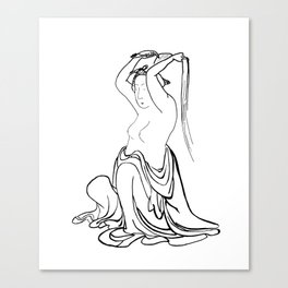 Hokusai – woman combing her hair – hair,comb,clip,peine,pelo,tresses Canvas Print