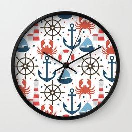 Sea white pattern Wall Clock