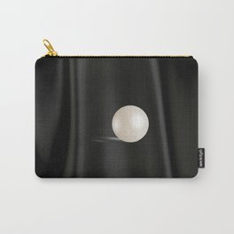 Perfect white Pearl on Black satin Carry-All Pouch