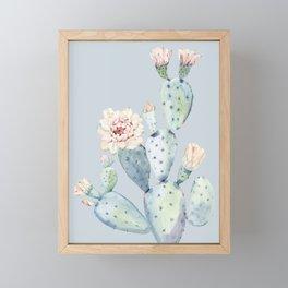 Prettiest Rose Cactus Blue Framed Mini Art Print
