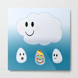 Refracting Rainbow Raindrop by Squibble Design Metal Print