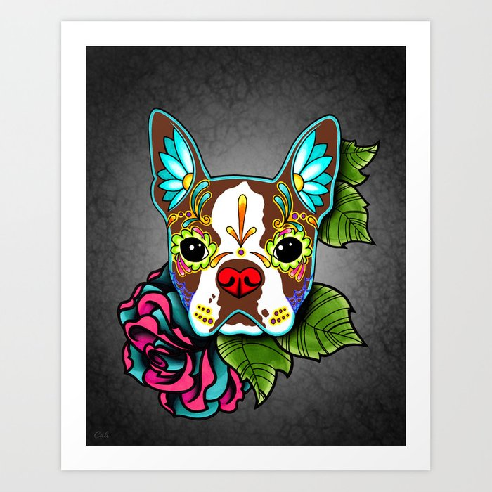 Boston Terrier in Red - Day of the Dead Sugar Skull Dog Art Print