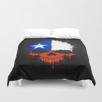 chile Duvet Covers featuring Flag of Chile on a Chaotic Splatter Skull by Jeff Bartels