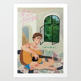 Call Me By Your Name Drawing - Elio playing the Gitar Art Print